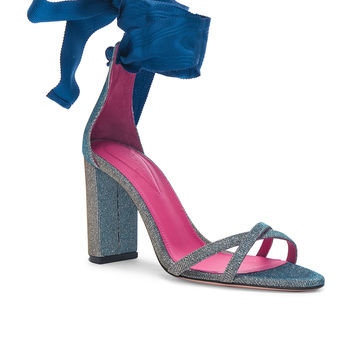 Oscar Tiye Lara 90mm Sandals in Lightning Silver | FWRD