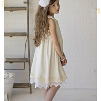 The Luna Vintage Lace Flower Girl Dress