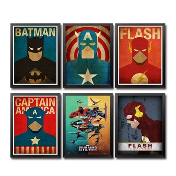 Comics Marvel Avengers Super Heroes Movie Poster Art Canvas Print Home Children's Bedroom the Wall Picture Decorator