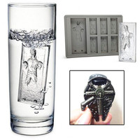 Star Wars Han Solo In Carbonite Silicone Ice Cube Tray With Millennium Falcon Metal Alloy Bottle Opener Set
