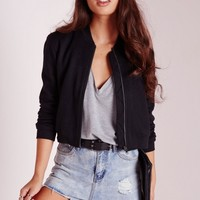Missguided - Ponte Bomber Jacket Black