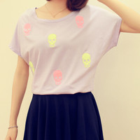 Fluorescence Color Skull Loose Batwing T-shirt