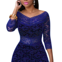 Royal Blue V-Neck Lace Romper