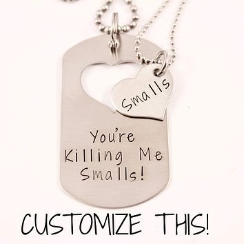 CUSTOM TEXT - Dog Tag with heart cut out & Heart set