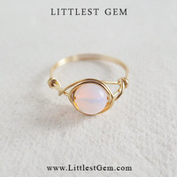 Pink Opal ring - unique rings - custom