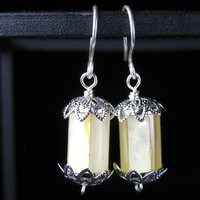 Mother Of Pearl Earrings, Sterling Hooks, Silver Plated Wire Wrap