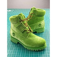 Off White X Timberland Velvet Hiking 6-inch Green Boots