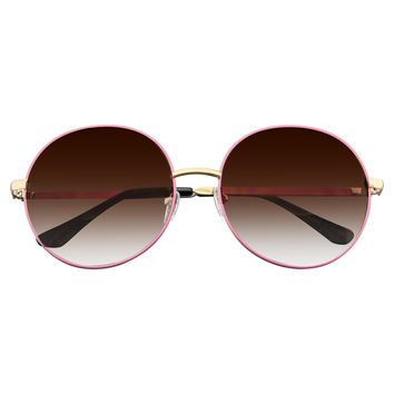 Women's Super Round Oversize Fashion Metal Large Sunglasses