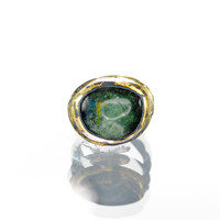 Blue Green Tourmaline Gold and Oxidized Silver Ring