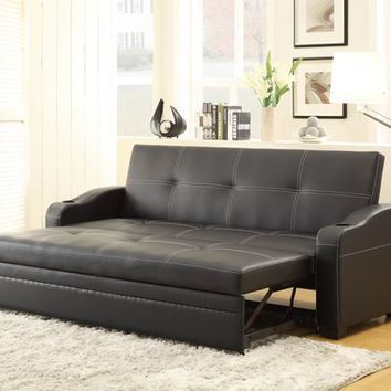 Marcelo collection black leather like vinyl upholstered folding futon sofa bed with built in cup holders pull out sleep area