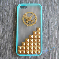 Iphone 4/4s/5/5s/5c cover,touch 5 case,Samsung Galaxy S3/S4,The Hunger Games Mockingjay Logo and bronze studs frosted translucent phone case