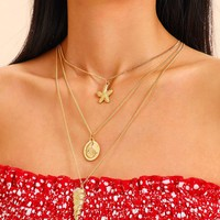 Shell & Starfish Charm Chain Layered Necklace 1pc