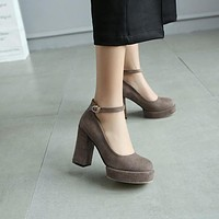 Flock Ankle Straps Platform Pumps High Heeled Shoes 3619