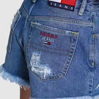 Tommy Jeans 90s High waist hole cutoff jeans