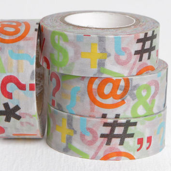 Punctuation and Symbol Washi Tape, Dollar Sign, Hashtag, Question Mark, Asterisk, Percentage Sign, Ampersand and Curly Brackets