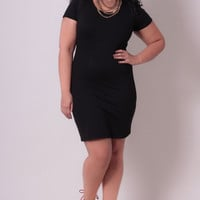 Plus Size Little Black Dress - Black