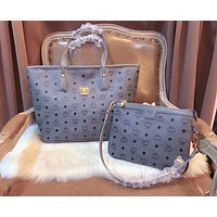 MCM Trending Women Stylish Shopping Bag Leather Tote Handbag Shoulder Bag Crossbody Bag Two Piece Set Blue I-AGG-CZDL