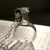 Mini Boiling Flask Necklace Hand Blown Glass by kivaford on Etsy