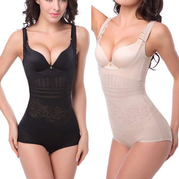 Women Sexy Thin Waist Cincher Black White Corset Underbust Full Body Tummy Control Shaper Underwear = 1929511364