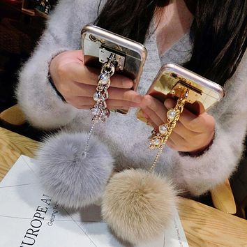 Fashion Pearl Chain Tassel Clear Plating Mirror Phone Cases for iPhone