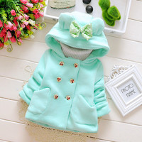 8Winter Baby Parka Plus Thick Velvet Baby Girls Snow Wear Infant Girls Outerwear Coat Double-breasted Bow Toddler Girls Clothing