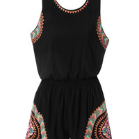 Black Sleeveless Printed Cut out Back Romper