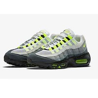 Mens Nike Air Max 95 Black Neon Gray White - Online