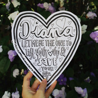 One Direction Diana lyric art B&w by Miasdrawings on Etsy