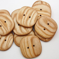 3 Large Square Buttons- Ash- 43mm (1 11/16 inch)- Handmade Wooden Buttons