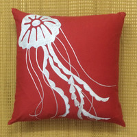 Decorative Throw Pillow Cushion Cover Sea Nautical Jelly Fish Embroidered LinenPillow Couch Toss Pillow Accent Pillow Available in All Sizes