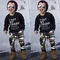 Winter 2PCS Kids Clothes Boys Toddler Kids Baby Boys Long Sleeve Letter Print Tops+Camouflage Pants Set Clothes Kids Sets JY12#F