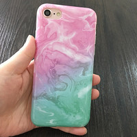2017 Pink and Turquoise with white swirls Phone Case For iPhone 7 7Plus 6 6s Plus 5 5s SE
