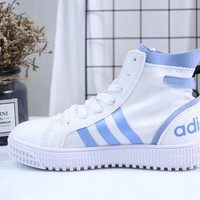 KUYOU A103 Adidas Honey Mid summer new canvas breathable high-top casual shoes White Blue