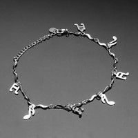 Anklet Ankle Bracelet Link S Shape Chain Alloy Music Note Dangle Elegant Gift = 1958190212