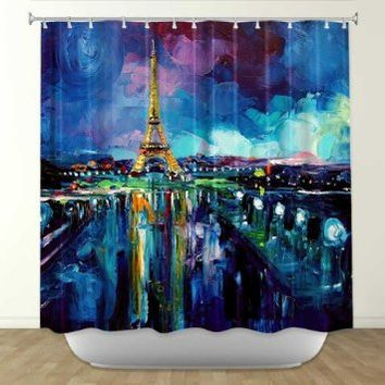 DiaNoche Designs Shower Curtains by Artist Aja Ann Unique, Cool, Fun, Funky, Stylish, Decorative Home Decor and Bathroom Ideas - Parisian Night Eiffel Tower