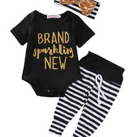 Sparkling Newborn Baby Girls Romper+ Stripe Pants+headband  3pcs set newborn baby Girls clothes sets