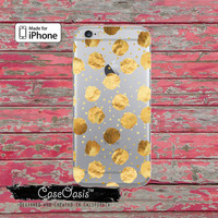 Gold Polka Dot Circles Cute Pattern Clear Rubber Case iPhone 6 Plus iPhone 6s iPhone 6s Plus iPhone 5 iPhone 5c iPhone SE iPhone 7 Plus Case