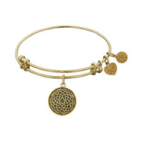 Antique  Smooth Finish Brass Lotus Flower Angelica Bangle, 7.25 Inches Adjustable