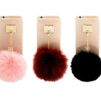 Transparent Furry Ball IPhone Cases for 6 6S Plus