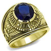 WildKlass Stainless Steel Navy Ring IP Gold Men Synthetic Montana