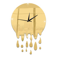 Acrylic Wall Clock Mirror Decoration   golden without scale