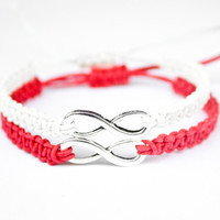 Infinity Friendship or Couples Bracelets Red and White
