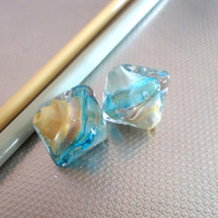 Lampwork Beads, Handmade Glass Bead Pair, Chrystal Glass Jewelry Supplies, Handmade Artisan Supplies