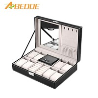 ABEDOE 8 Slot Watch Display Organizer Multi-function Jewelry Large Case Leather with Lock & Mirror for Ring Necklace Bracket