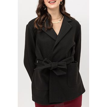 Fleece Notch Collar Belted Coat