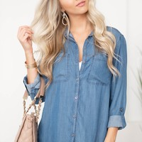 Classic Denim Button Up Top | Dark Wash