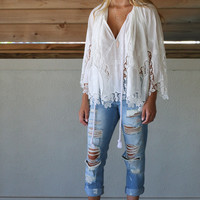 Maggie Valley White Crochet Blouse