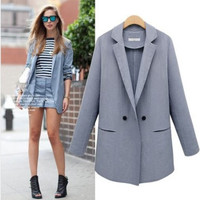 Fashion Autumn Women Button Business Casual Suit Outerwear Jacket a12999