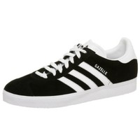 adidas Originals Men's Gazelle Lace-Up Sneaker,Black / Running White,12 M
