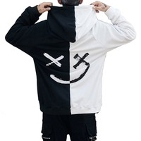 Harajuku Be Happy Letter Print Mens Patchwork Hoodies Sweatshirts 2018 Autumn Smile Face Long Sleeve Hooded Pullover Jumper
